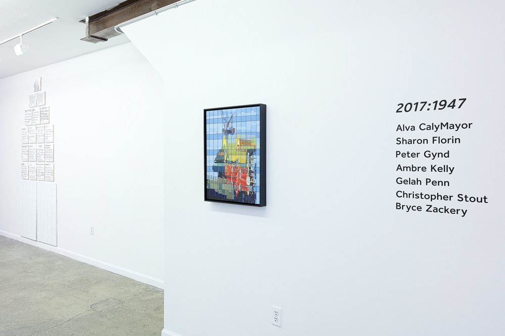 Installation view from 2017:1947 with works by Ambre Kelly (left) and Sharon Florin (right.) Featuring Alva CalyMayor, Sharon Florin, Peter Gynd, Ambre Kelly, Gelah Penn, Christopher Stout and Bryce Zackery. Photography Courtesy of Haik Studio.