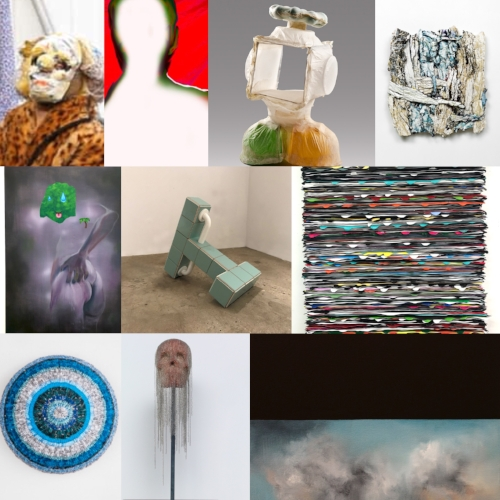 """Top row L to R: By Katya Grokhovsky,Video Still from Bad Woman (2017); Janice Sloane, MARS, Digital giclee print,27"""" x 32"""" (2017);Ilene Sunshine, NL 03,handmade abaca (banana plant fiber paper) over plastic discards, 10""""h x 7""""w x 5""""d (2015 );and Judith Mullen,Hatch XV,Plaster, paint, wax, yarn on board,15"""" x 15""""(2017); Middle L to R: By Ariel Mitchell, Sweat, Oil on panel,16"""" x 20""""(2017); Zac Hacmon,Apparatus,Ceramic tiles, wood, stainless steel, grout,22""""x26""""x16"""" (2017);and Monica Delgado,What's a Painting No. 19,Acrylic paint mounted on wood,20"""" x 24""""(2017); Bottom row L to R: By Jaynie Crimmins,Nevertheless She Persisted,Shredded non-profit and political solicitations, health care statements, magazine articles,8"""" x 8"""" x 5.5""""d (2017);Esperanza Cortes,Encadenados, Chain on clay, metal base,22"""" h x 12"""" w x 12"""" d (2013);and Audree Anid, Untitled-3, Oil paint and acrylic on canvas,14"""" x 14"""" (2017).  Annual Members Invitational December 20 - January 20, 2018 Artists: Audree Anid, Esperanza Cortes, Jaynie Crimmins, Monica Delgado, Katya Grokhovsky, Zac Hacmon, Ariel Mitchell, Judith Mullen, Janice Sloan and Ilene Sunshine Jurors: Eileen Jeng, Benjamin Sutton and Dexter Wimberly Opening Reception: Wednesday, December 20, 6 - 8 PM Equity Gallery, 245 Broome Street, NY, NY 10002 Gallery Hours: Wednesday to Friday 1 - 7 PM Saturday, 12 - 6 PM ______________________________________________________________________________________________________________________________ Equity Gallery is pleased to announce the Members Invitational, an annual juried group exhibition featuring the work of Artists Equity members. The exhibition will be on view from December 20, 2017 through January 20, 2018, with a public opening reception on December 20, 6-8pm. The 10 artists selected for the Members Invitational are Audree Anid, Esperanza Cortes, Jaynie Crimmins, Monica Delgado, Katya Grokhovsky, Zac Hacmon, Ariel Mitchell, Judith Mullen, Janice Sloane and Ilene Sunshine. The exhibition will f"""