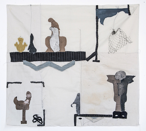 "Hanging Net  (2018), Collages and mixed media on fabric, 30 ¼""  x 33"""