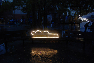 "The Glowing Homeless  (2011), Neon light, 14.5"" x 73"" x 10"""