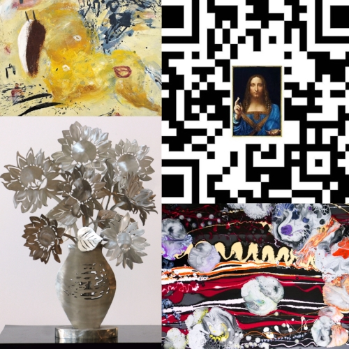 Top row, L to R: Valentina DuBasky,  Winged Amber Horse  (2018), Acrylic and marble dust on plaster and paper, 29.75 x 32 in,  Real Salvator Mundi,  QR Code  (2018), silkscreen on canvas, (sizes vary); Bottom row, L to R: Babette Bloch,  Sunflowers  (2014) stainless steel, Height- 24 in., Michael Townsend, Gravity I (2018), acrylic on canvas, 36 x 48in
