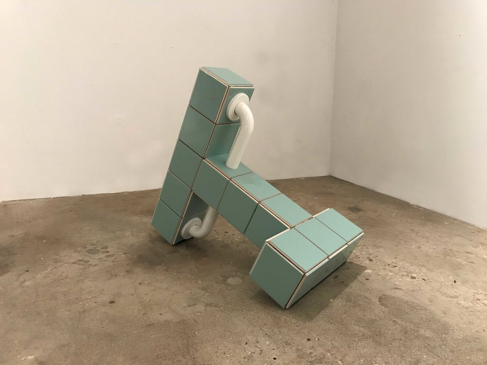 "Zac Hacmon,  Apparatus  (2017,) Ceramic tiles, wood, stainless steel, grout, 22"" x 26"" x 16"""