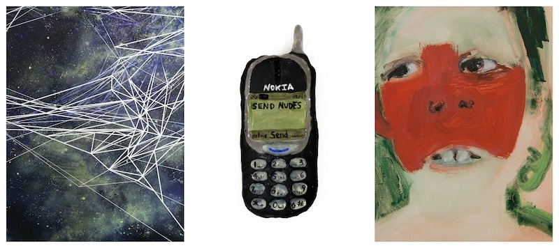 """From left to right- Marie-Dolma Chophel,  Web I  (2019), Acrylic, spray paint and paint marker on canvas, 60"""" x 48""""; Colin J. Radcliffe,  SEND NUDES (on a Nokia)  (2019), Ceramic, glaze, 0.5"""" x 2.5"""" x 5.5""""; Carla Repice,  Blush  (2017), Oil on panel, 9"""" x 12"""""""