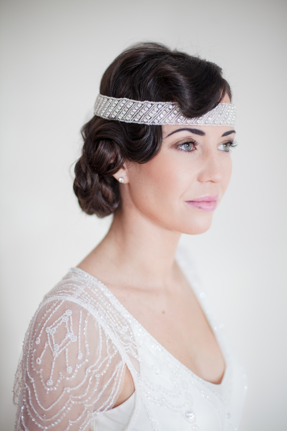 1920's Faux Bob with Finger Waves and Headpiece 5