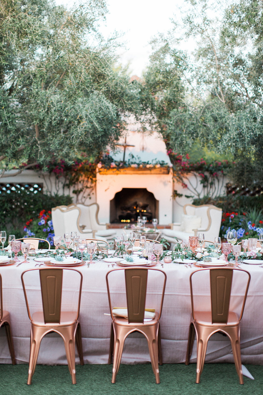 el chorro herb garden wedding - bright family style copper and rose gold desert wedding