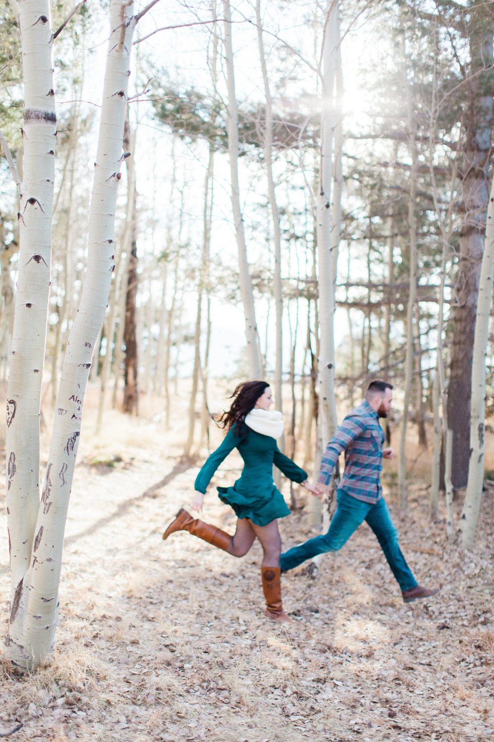flagstaff winter forest snow bowl engagement session