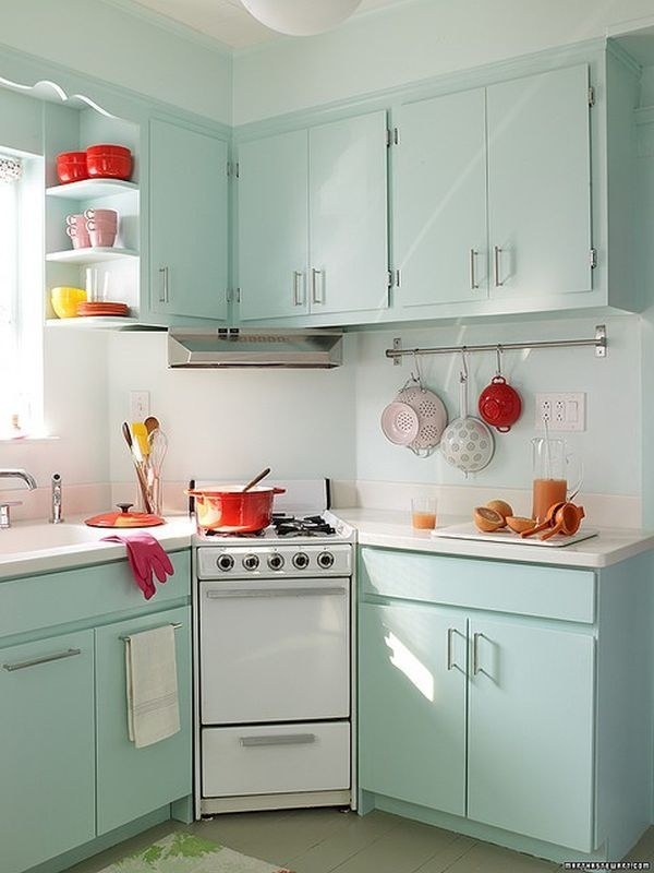 loads of color in a small kitchen