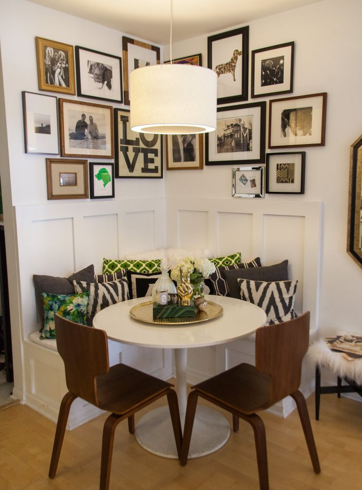 collage wall breakfast nook