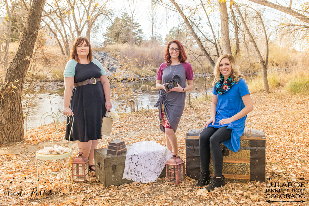 Women posing in Lularoe with Jennifer from Colorado at the Poudre River Trail in Fort Collins, Colorado
