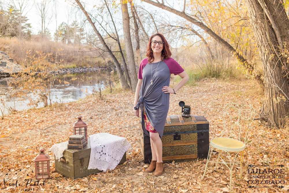 Woman posing in Lularoe with Jennifer from Colorado clothing at the Poudre River Trail in Fort Collins, Colorado