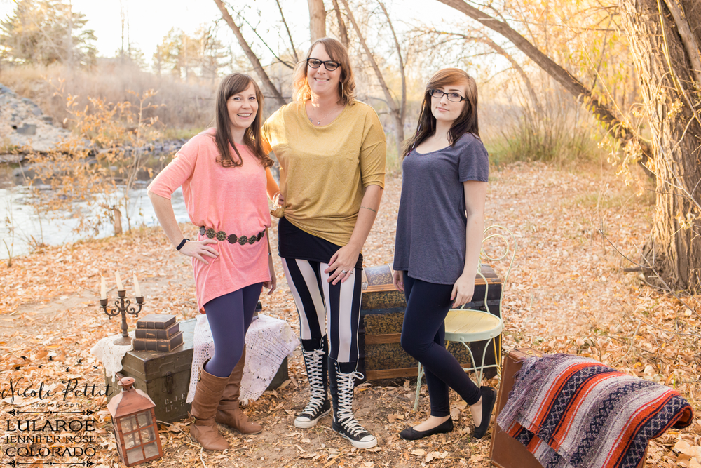 Three women modeling Lularoe with Jennifer from Colorado Irma shirts, Classic T's and leggings at Poudre River Trail in Fort Collins, Colorado