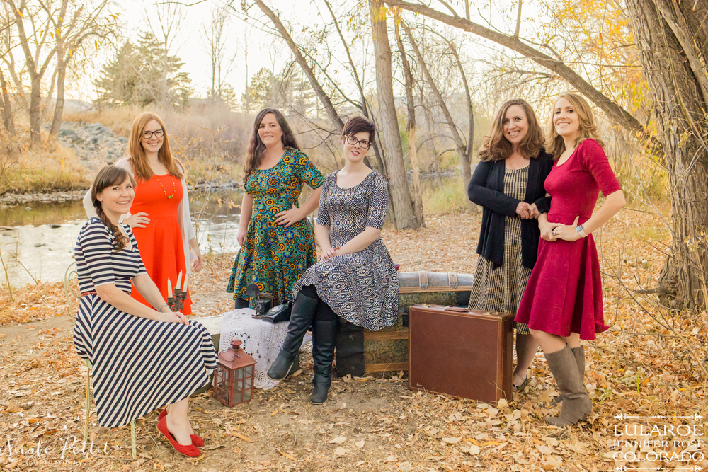 Ladies modeling the Nicole dress from Lularoe with Jennifer from Colorado at the Poudre River Trail in Fort Collins, Colorado