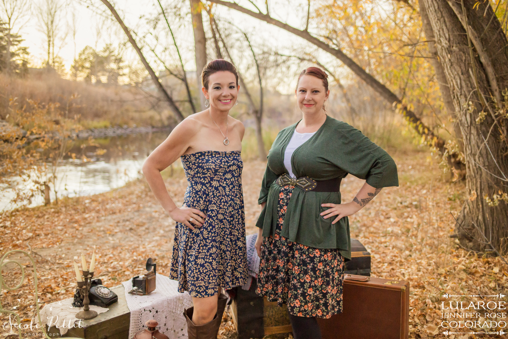 Two ladies modeling two different ways to wear the Azure skirt from Lularoe with Jennifer from Colorado at Poudre River Trail in Fort Collins, Colorado