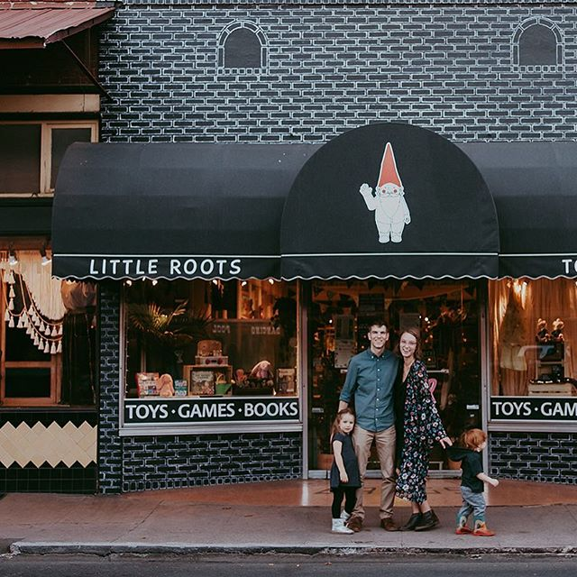 us: griffin trying to exit into the road, aspen scowling, the shop glowing in the background. we are so happy to be doing every second of this. we are so happy to have you here 🖤 (📷: @gold.dust.photography)