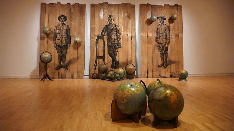 Autour Du Monde , 2008 | Conte crayon on wood with globes