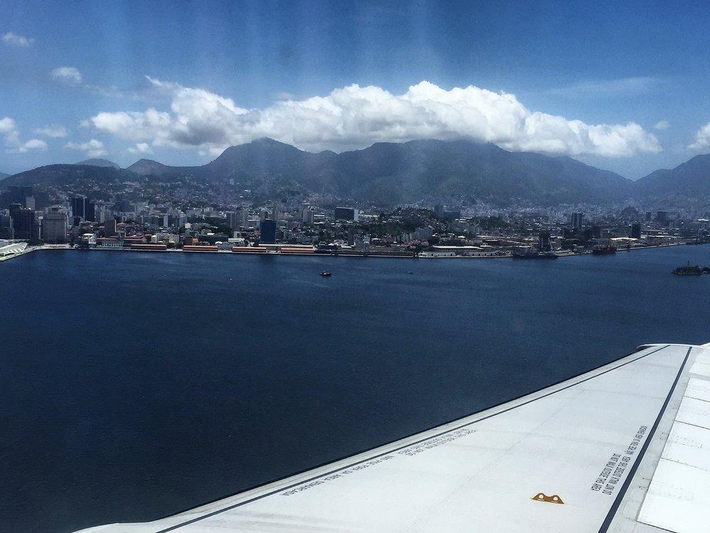 View of Guanabara Bay before landing in Rio de Janiero's domestic airport (SDU).