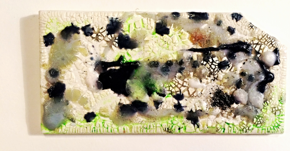 """A.S.S.D.D.4974   2016  Acrylic, oil, melted wax and glue on ceramic tile  6 """" x 3 """""""