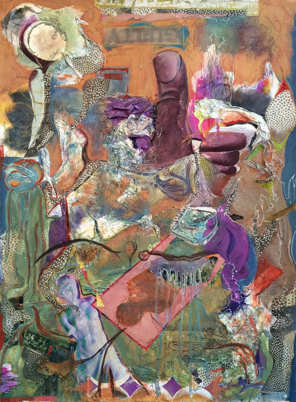 I(t) Could (Might) Go Either Way  2015  Oil, ink and collage on paper  22 x 30