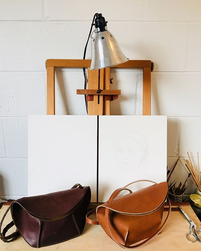 Two versions of an as-yet unnamed bag design I've been playing with (pictured in my new painting studio). Getting in here to work is such a treat🍀