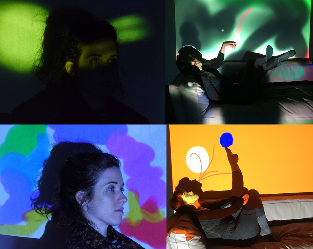 Four sample images of projection drawing.  Lauren Shoemaker poses in all four shots.  The two on the right are moving more to full body stills.  At BANFF we aim to move into movement and start to develop a language between projection drawing and dance.