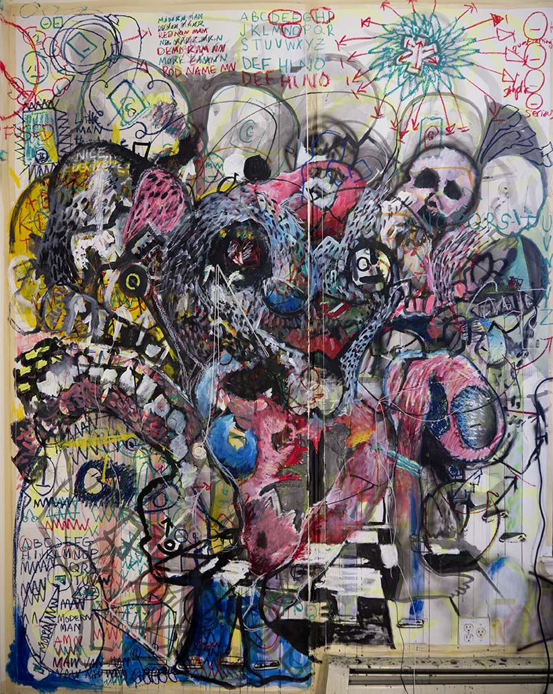 The first wall in my show.  9' x 6' pen, pencil, marker, watercolor, acrylic, oil stick, post it notes, LEDs and wire on paper.