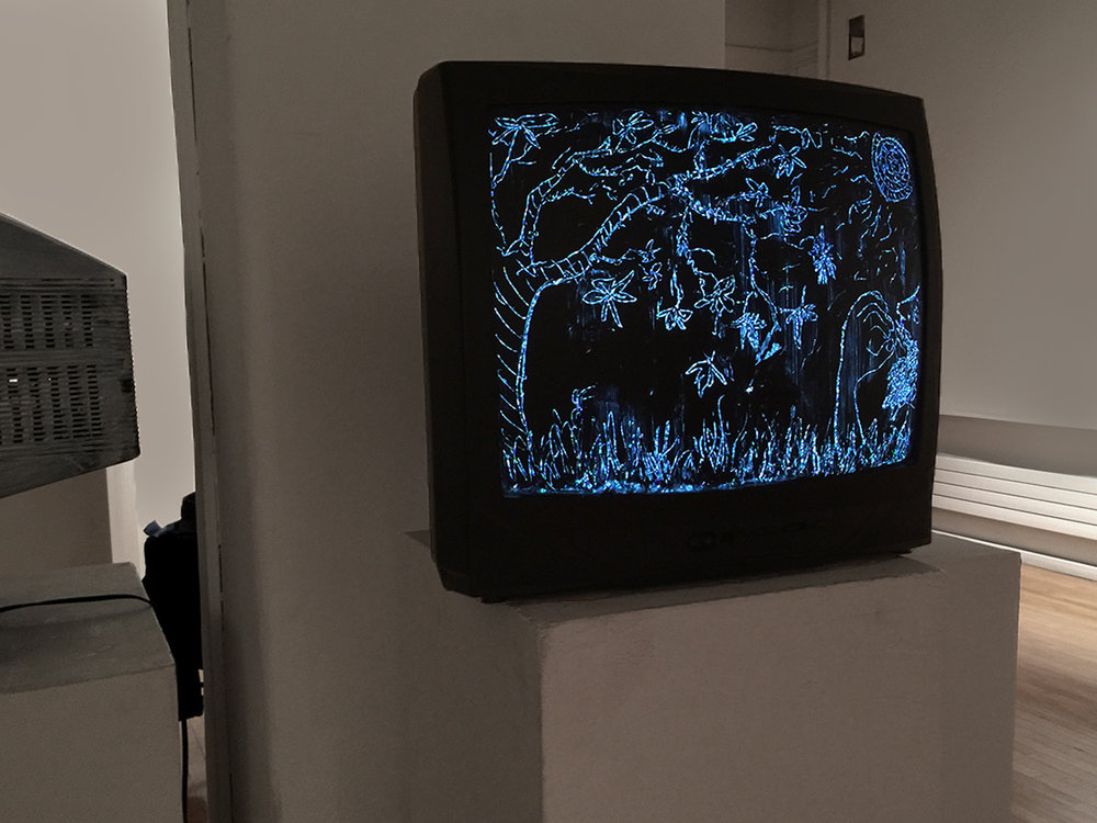 "Part of the show places old, found televisions that I paint over and scratch into to make an image that shines through because the ""snow screen"" (or ""white noise"" screen) of the television.  The random signal of the snow screen neatly intuits the concept of ""Total Noise."""