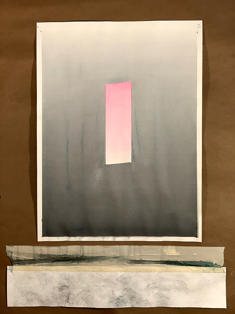 "Gradient Study (Gray and Pink). Watercolor on Paper. 18"" x 24""."