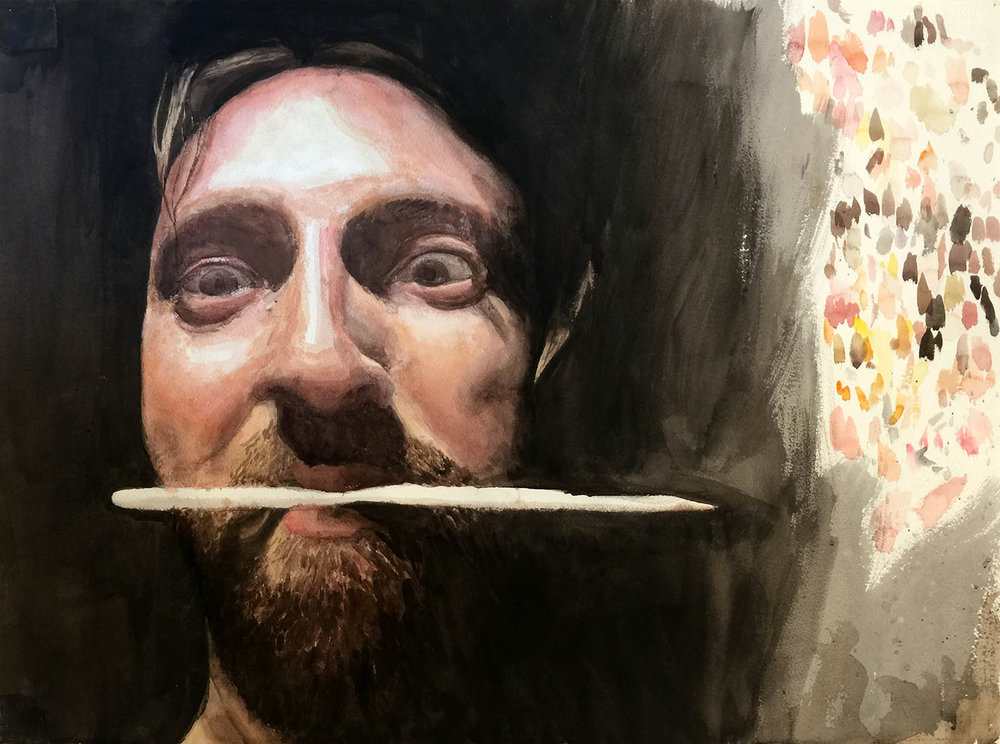 "Dark in the Studio 2 (self-portrait). Watercolor on Paper. 17"" x 24""."