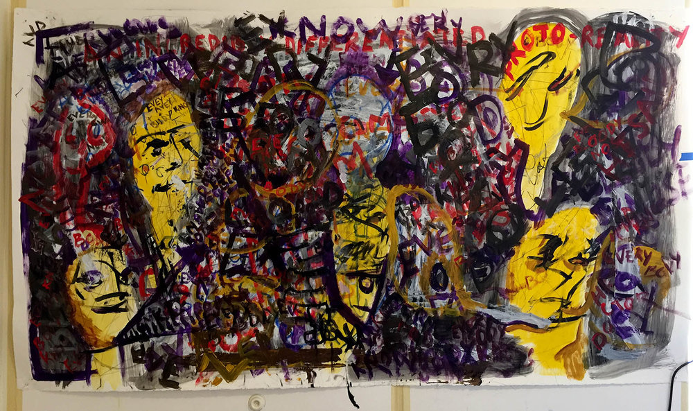 Gargoyles (for Thomas Bernhard). Acrylic and Watercolor on Paper. 4' x 8'.