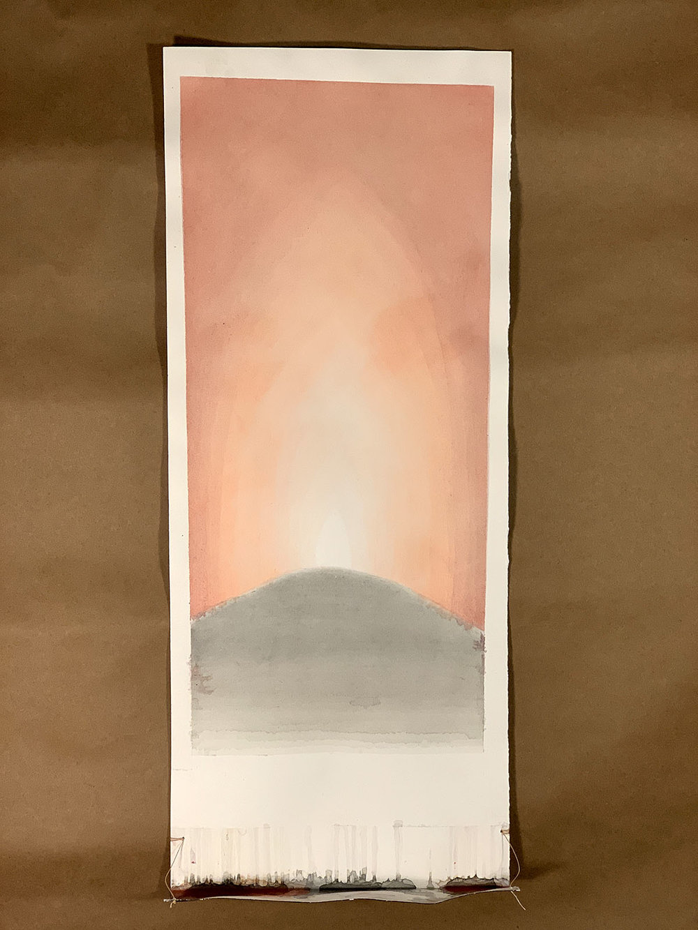 "Flame. Watercolor on Paper. 8"" x 20""."