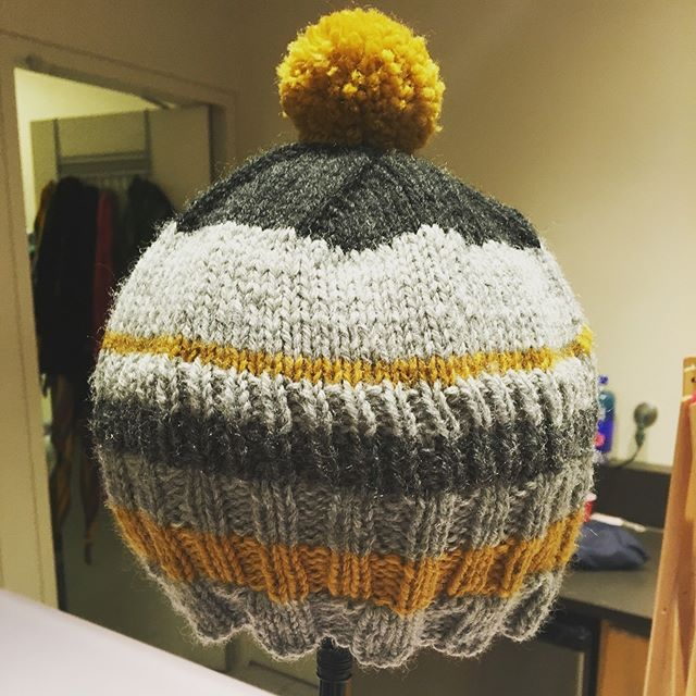 I love a grellow stripe! New Strib hat made from scraps. #knitting #knitstagram #knittersofinstagram