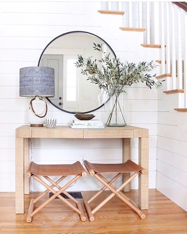 Confession: I like big mirrors (and I cannot lie). 😃🙊And my new blog post- Round Mirror Round-Up- shows you all of my budget-friendly faves! 💕💁♀️ Link in bio . . . .  #interiordesign #interior #interiordesigner #designer  #entryway #mirror #roundmirror #smpliving #shiplap #nyc #hamptons #boston #realestate #realestateagent #decor #decorate #cottage #farmhouse #farmhousestyle #modern #modernhome #wayfair #homegoods #housetour #finditstyleit #atlanta #dmv #renovate