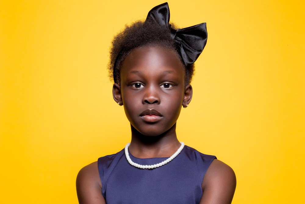 bright yellow background navy dress bow headband natural hair melanin