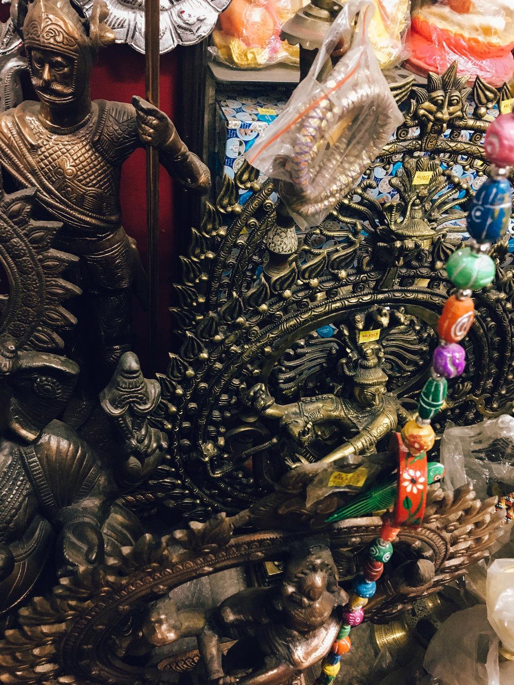 Handmade brass Nataraj statues.