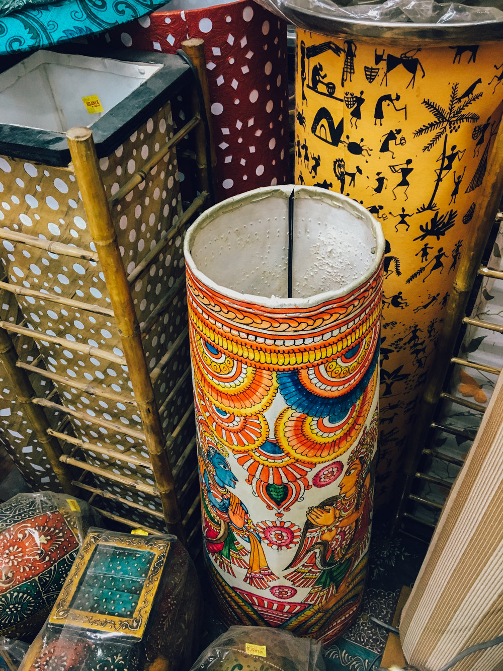 I wanted to buy this lamp so badly! It is painted in the Madhubani style, and completely handmade!