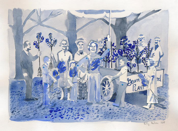 The First Greentree Festival. Watercolor on paper with movable paper puppets, 2014.