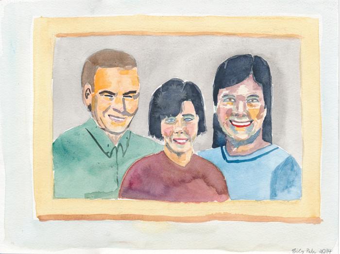 Family Portrait. Watercolor on paper, 2014.