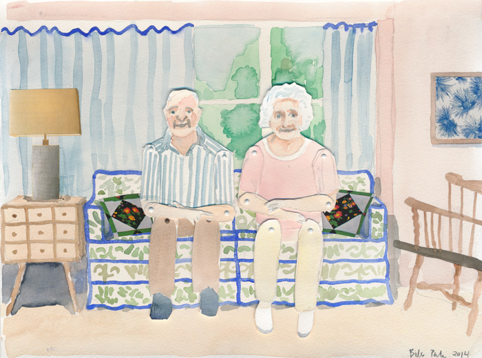 Parents. Watercolor and collage on paper with movable paper puppets, 2014.