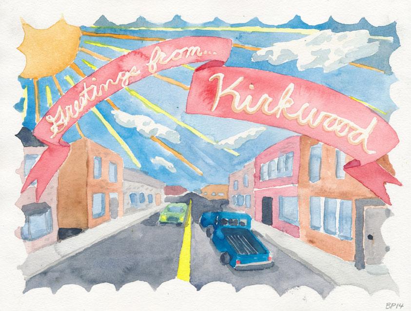 Greetings from... Kirkwood. Watercolor on paper, 2014.