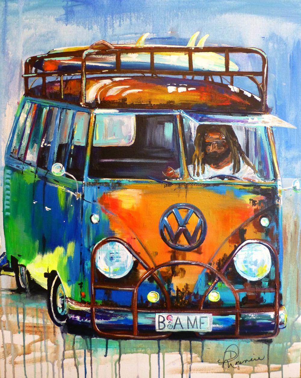 """(available) """"BAMF-VW Bus"""" - 24""""x30"""" acrylic on canvas, 2014"""