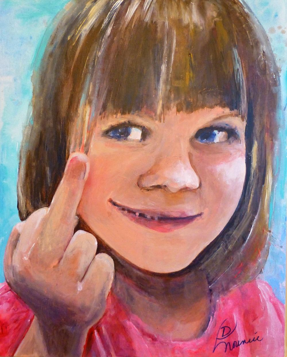 "(available) ""Sinister Kid"" - acrylic on canvas 24""x30"" 2014"