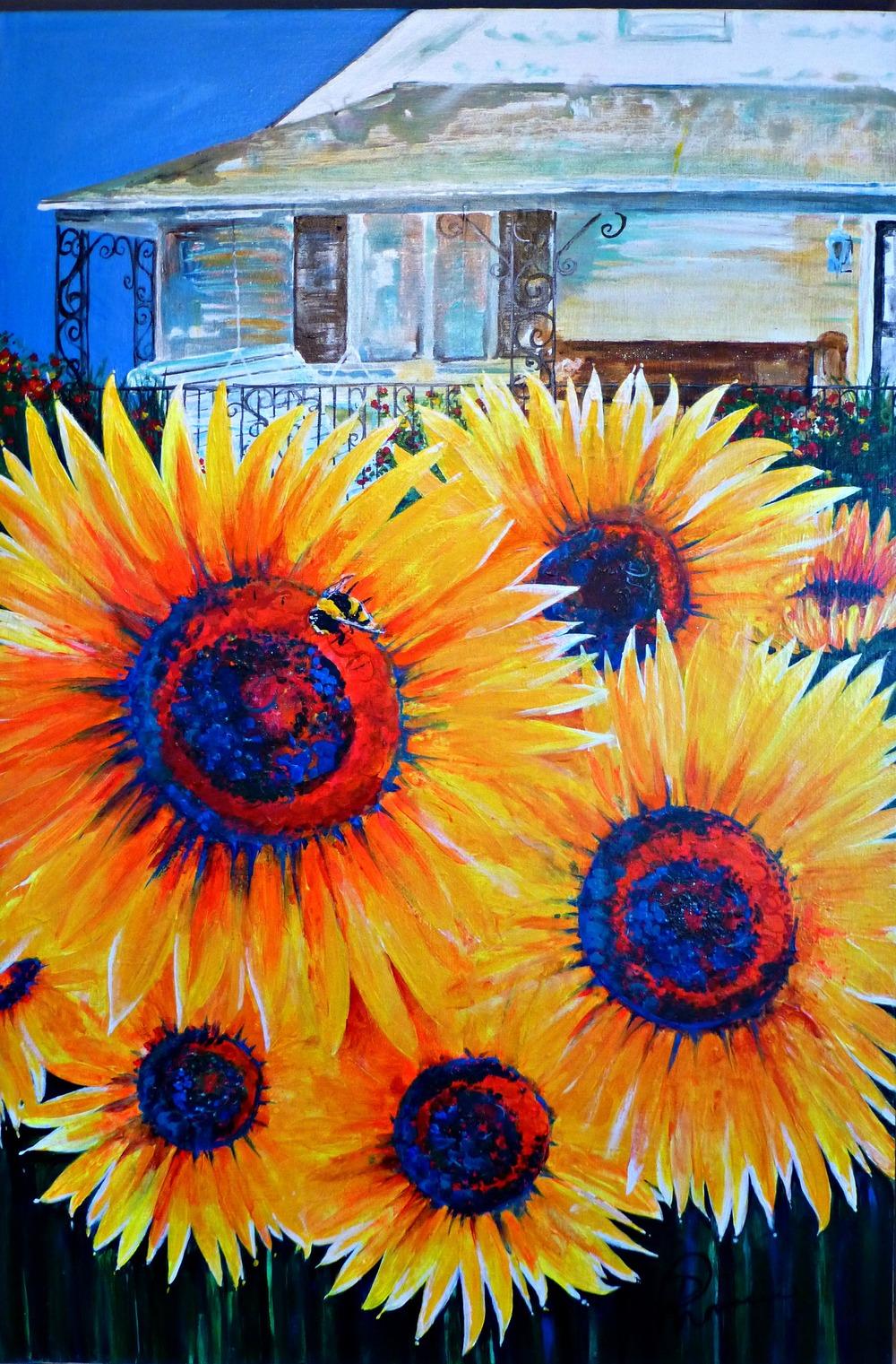 """""""Sunflowers"""" 24""""x36"""" acrylic on canvas 2014"""