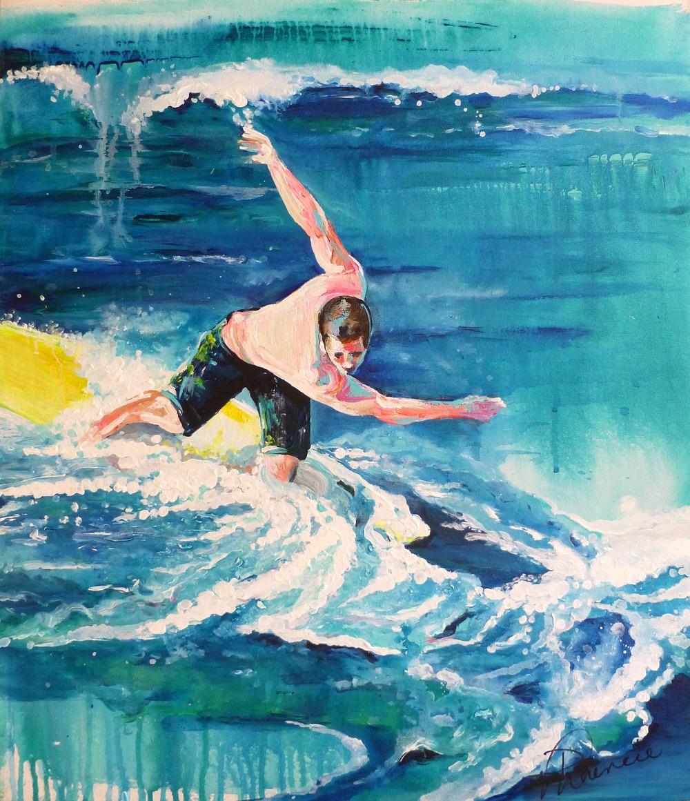 """(available) """"Surfer"""" - 21.5""""x25"""" acrylic on canvas 2014"""