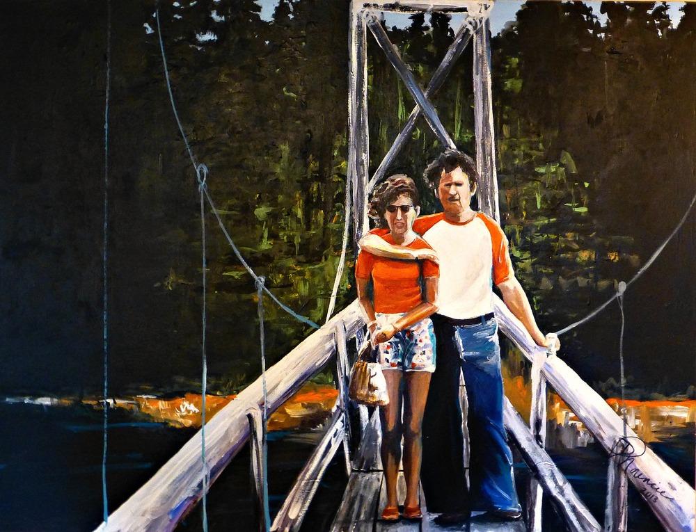"""""""1970's Love on a Bridge"""" - 36""""x48"""" acrylic on canvas, 2013"""