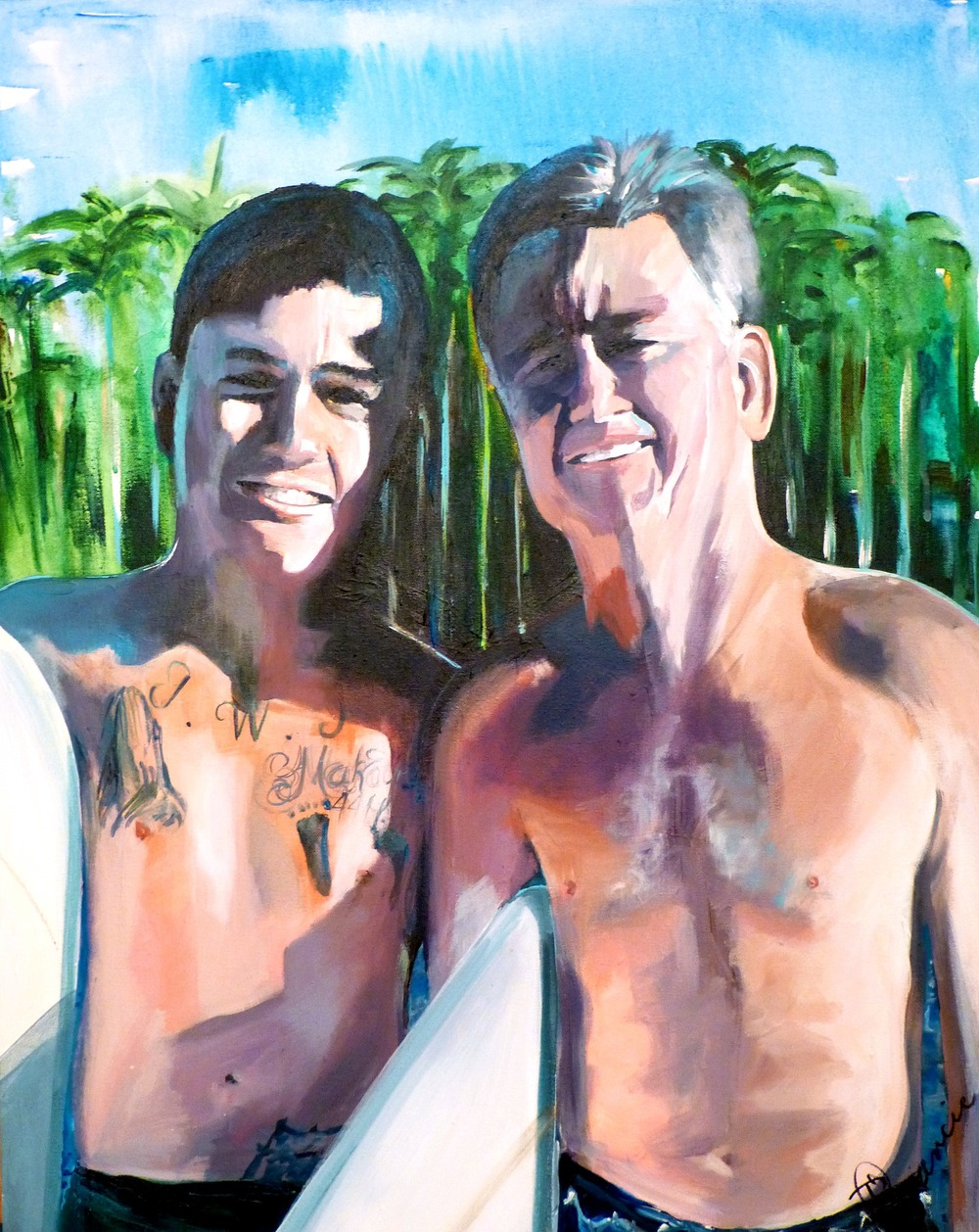 """Father and Son Surfers"" - 24""x30"" acrylic on canvas 2014 (collection of Foster)"