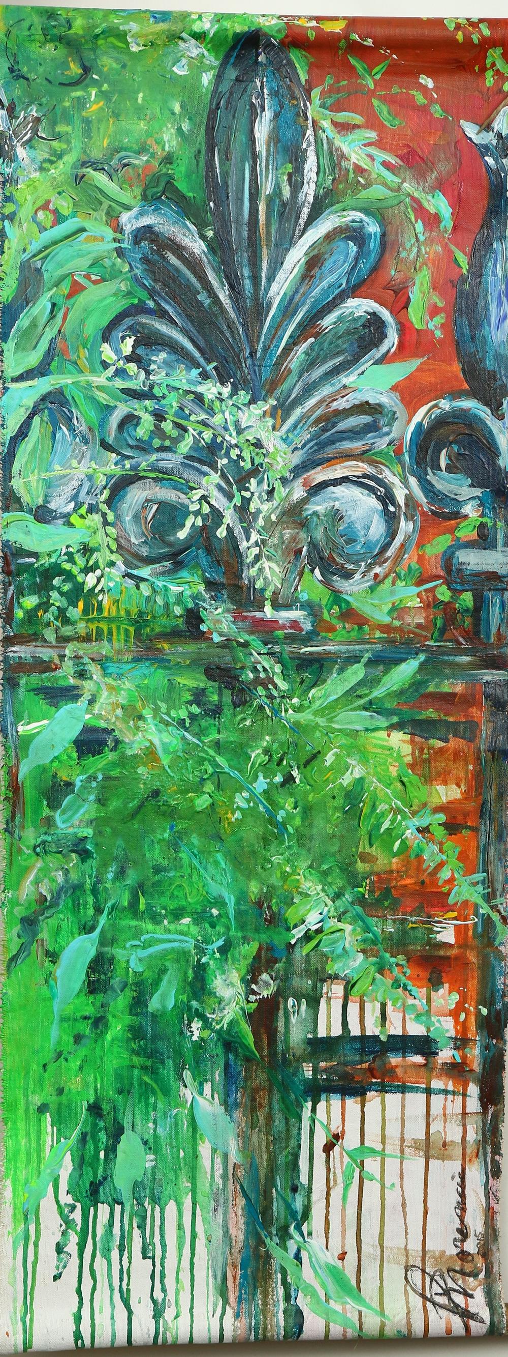"""(available) """"The Fence"""" - 13""""x34"""" acrylic on canvas 2015"""