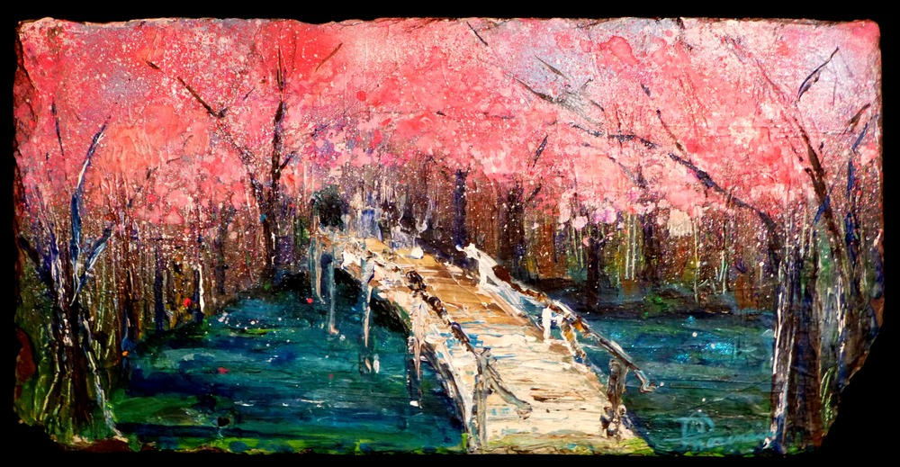 """Walking to Blossoms"" 2015 acrylic/spray paint on New Orleans roofing slate approx 10""x20"""