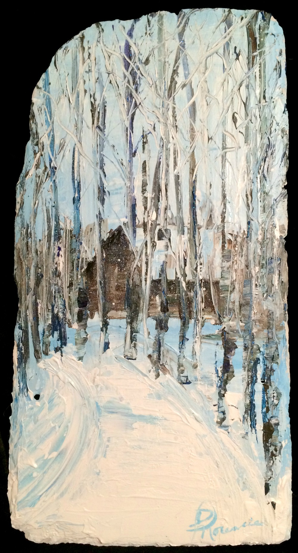 """Frederic Cabin"" - acrylic on New Orleans roofing slate 10""x20"" Dec 2015"