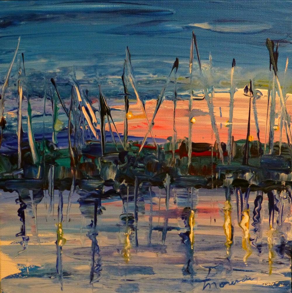 """(Available) """"Docked"""" acyrlic on canvas 10""""x10"""" 2016"""