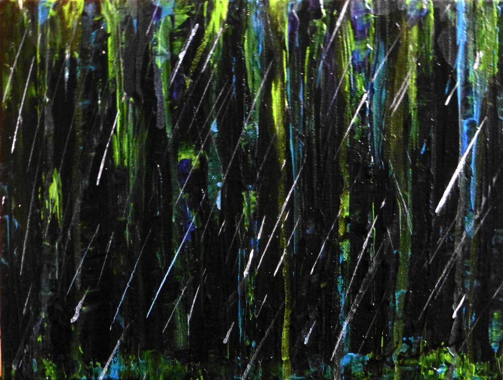 """(available) """"Rain"""" 9""""x12"""" acrylic on canvas 2016"""